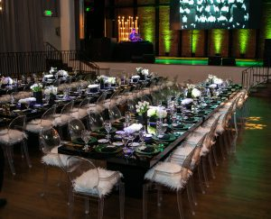 Roaring 20s Gatsby Glam inspired party event with floral details emerald green and gold